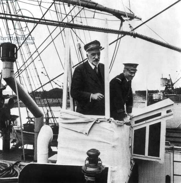 French explorer and oceanographer Jean Baptiste Charcot (1867-1936) on bridge of boat
