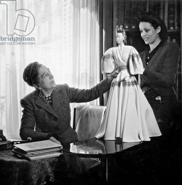 French fashion and perfume designer Jeanne Lanvin (1867-1946) in april 1945