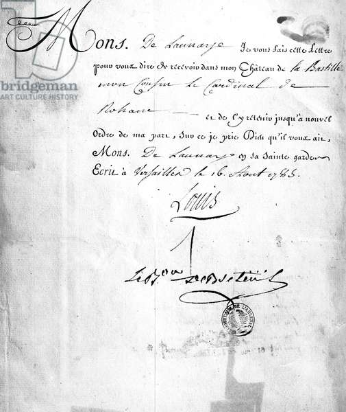 Letter from Carhel, signed by Baron Louis de Breteuil, ordering the imprisonment of Cardinal de Rohan in 'The Affair of the Diamond Necklace', 26th August 1785 (ink on paper)