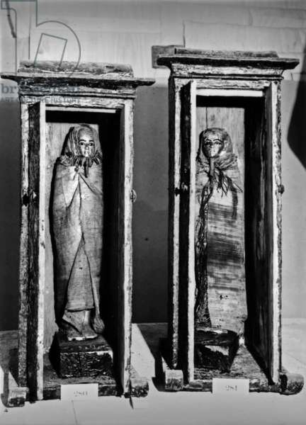 Discovery of the tomb of pharaoh Tutankhamun in the Valley of the Kings (Egypt) : statuettes of Imsety and Mamu (Treasury), 1923, photo by Harry Burton (p1017)