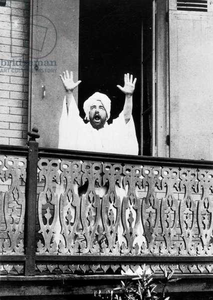 French painter Henri de Toulouse-Lautrec (1864-1901) dressed up a muezzin at the balcony c. 1894