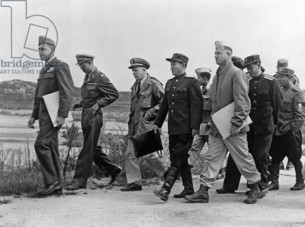 United Nations and Communist Chinese North Korean on their way to the meeting for reopening armistice talks at panmunjon, 1953 (armistice will be signed on july 27, 1953) photo NARA