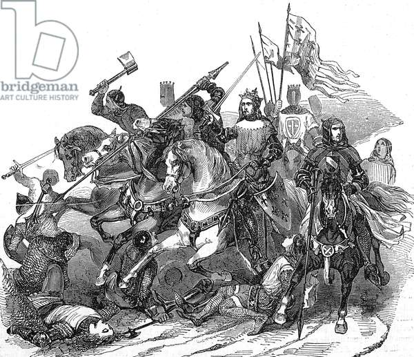 Bouvines battle in 1214 won by French king Philippe Auguste on german emperor Otto IV, engraving