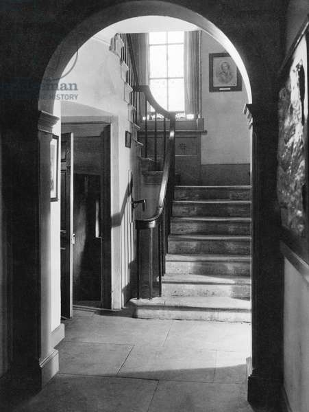 Interior of Haworth Presbytery, Home of the Bronte Family (b/w photo)