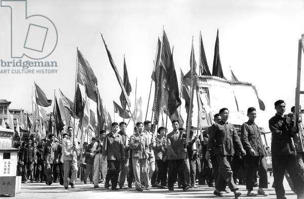 Communist parade in Shanghai october 1st , 1957