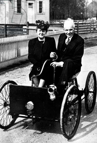 Henry Ford and his wife Clara Bryant with the first Ford car (the Quadricycle built in 1896) c. 1947 in Dearborn,  Michigan