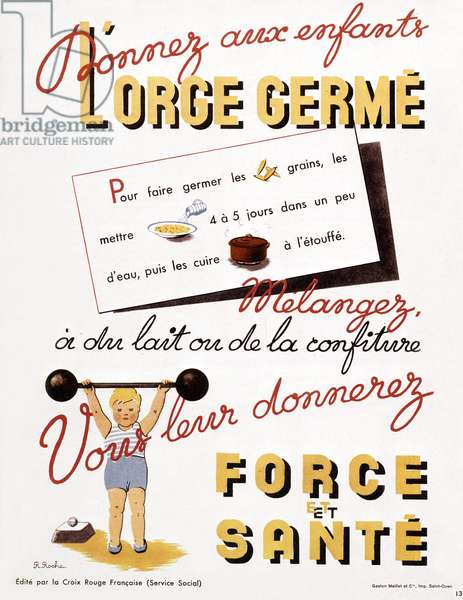 French poster by Red Cross to give germinated barley to children for strenght, ww2
