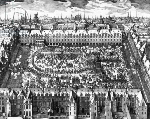 View of the Vosges Square, called the Royal Square, during the celebrations on april 5-7, 1612 for the double wedding of Louis XIII with Anne of Austra and Elizabeth of France with future Philip IV of Spain, engraving