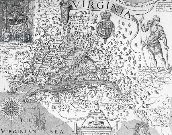 map of Virginia estate in 1620, USA, engraving