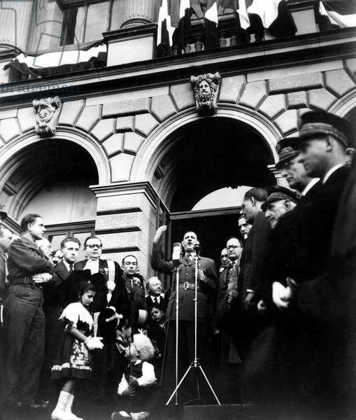 General Charles de Gaulle making a speech in front of Strasbourg university (France) on october 5, 1945