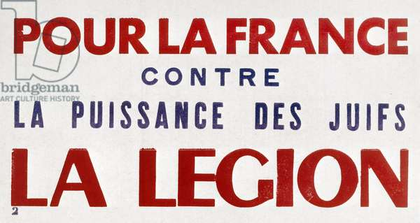 French propaganda poster of Vichy government for Legion against Jews, c. 1941