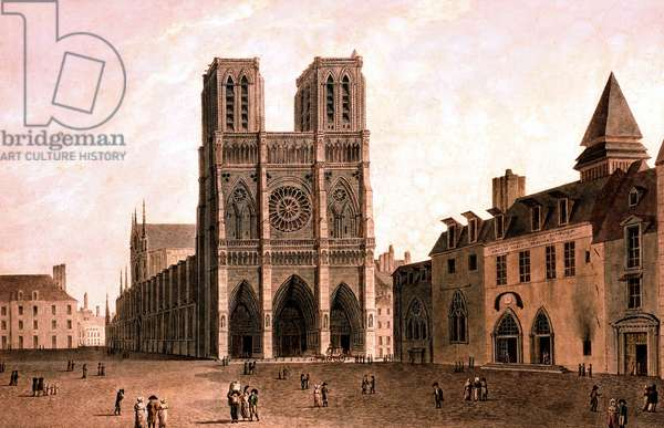 View of Notre Dame cathedral in Paris, at the time of the Consulate in 1799-1804, engraving by Garbizza