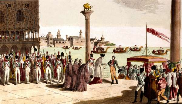 On november 27, 1807, French emperor Napoleon 1st arriving in Venice, engraving