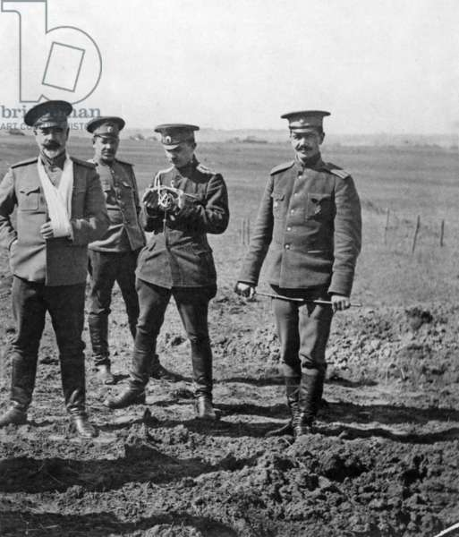 Russian general Anton Ivanovitch Denikine (1872-1947, on r) at time of civil war in Russia, 1918-1920