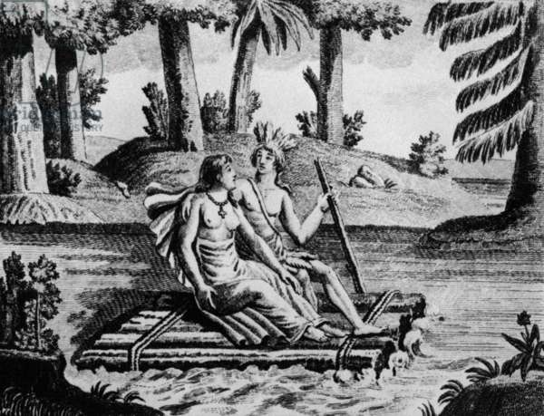 Illustration for novel Atala by Francois Rene Chateaubriand (1801) : Atala and Chactas crossing river on a raft, engraving