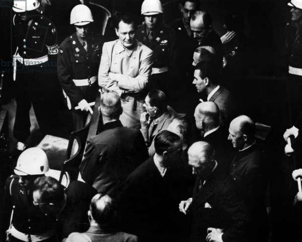 Nuremberg trial (1945-1946) to judge former nazi leaders : here during a break, Hermann Goering