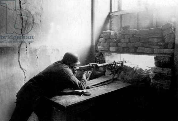 german soldier in a blockhouse during ww2