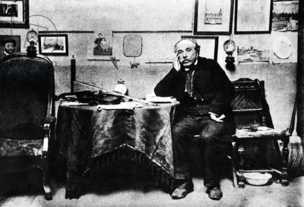 French painter Henri Rousseau said Douanier Rousseau (1844-1910) here at home c; 1890