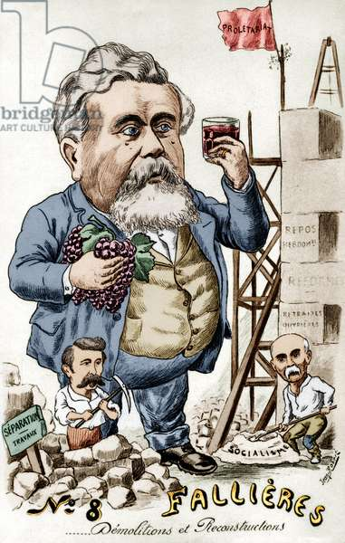 Construction of socialism by Armand Fallieres (1841-1931) president in 1906-1913, with Rene Viviani and Georges Clemenceau, caricature by Jean Robert
