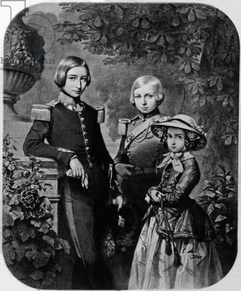 Children of king Leopold 1st of Belgium : Leopold (1835-1909 future king Leopold II), Philippe, Count of Flanders (1837-1905) and Charlotte (1840-1927), engraving