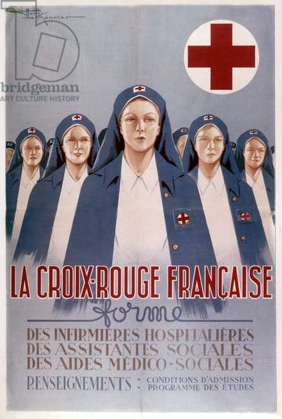Poster by Henry Monnier for French Red Cross and training course, 30's