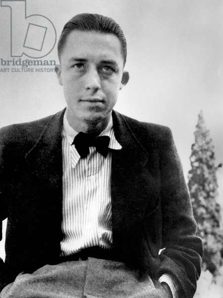 French writer Albert Camus (1913-1960) here young (22) during a travel in Italy, 1935
