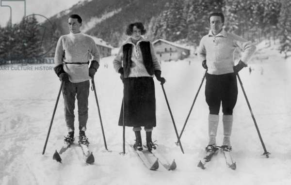 German painter and sculptor Max Ernst (1891-1976) and Paul Eluard with Gala at winter sports in Austria 1922.