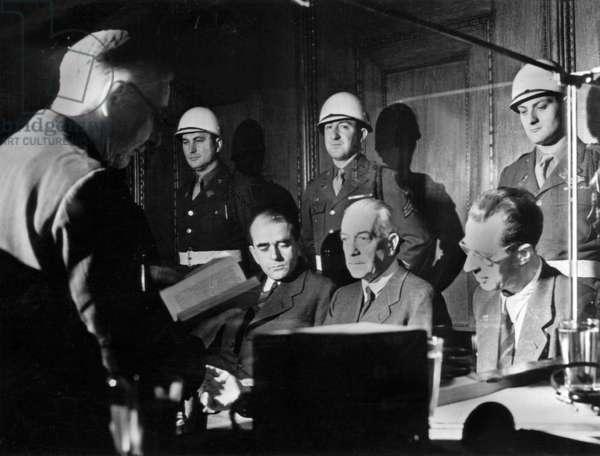 Nuremberg trial to judge the former nazi leaders : (l-r) Hjalmar Schacht, Albert Speer, Konstantin van Neurath and Hans Fritzsche on january 25, 1946