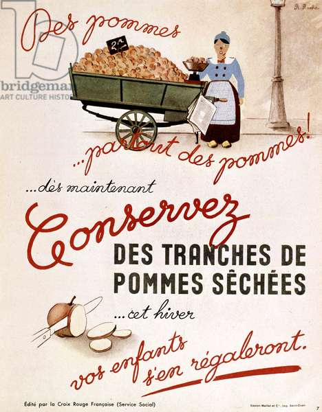 French poster of the Red Cross for conservation of the apples for winter, ww2