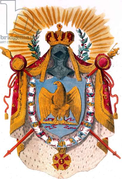 Imperial arms of French emperor Napoleon 1st with eagle, 1804, engraving