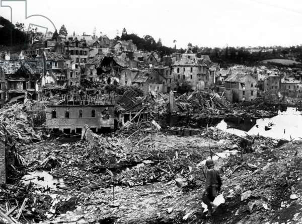 View of the ruins of the city of Saint Lo (Normandy, France) after american bombings during german occupation of the city and the violent fights against the german forces to liberate the city, late july 1944