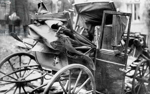 after the bomb attack, View of the carriage of the murderers at the villa of russian minister of Interior Piotr Stolypine september 08, 1906 in Russia