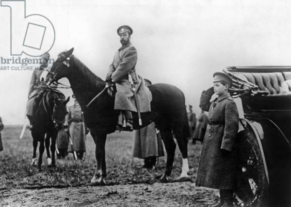 Czar of Russia Nicolas II (1868-1918) and his son czarevitch Alexis Nicolarevitch (1904-1918) during military reView on the front, ww1