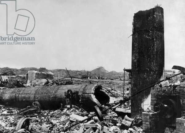 Nagasaki and Japan after atomic shelling by americans on august 9, 1945