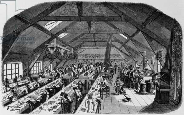 Making of musical instruments of Adolphe Sax in Paris, 1848, engraving