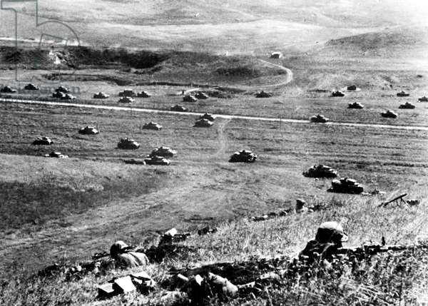 German tanks during attack in Russia during the war