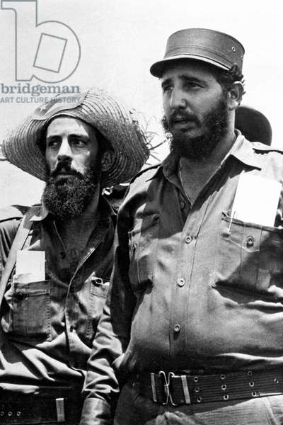 Camilo Cienfuegos Gorriaran the new head of Fidel Columbia camp in Havana here with Fidel Castro after the victory of the guerilleros january 1959