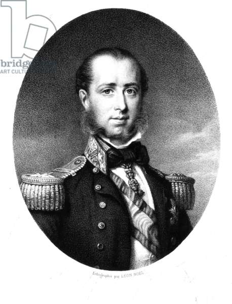 emperor Maximilian of Mexico (1832-1867) Archduke of Austria under the name of Ferdinand-Joseph of Habsbourg , and husband of princessCharlotte of Saxe-Cobourg-Gotha and of-Belgium , engraving c. 1860's