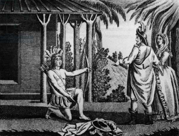 Illustration for novel Atala by Francois Rene Chateaubriand (1801) : Chactas wants to come back in desert, engraving