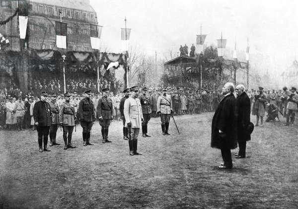 French president Georges Clemenceau and French minister of war Paul Painleve during ceremony for General Philippe Petain who becomes Field Marshal , in Metz december 08, 1918