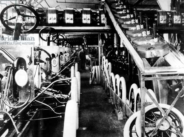 in 1914 Henry Ford installed the first moving assembly line in his Highland Park factory (Detroit, Michigan) and startled the automobile industry by producing a car every 93 minutes. At the end of 5 years, the Highland Park plant was turning out 10 000 cars a day
