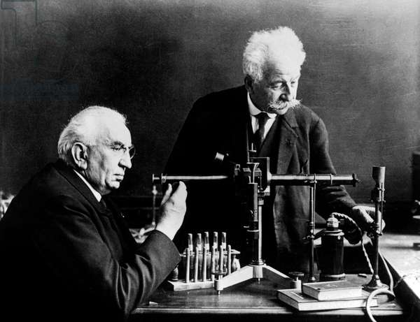 the Lumiere brothers Louis (l, 1864-1948) and Auguste (1862-1954), inventors of movie, here c. 1925