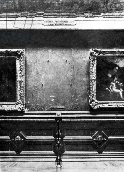 Space taken by the Mona Lisa in the salon carre in Louvre museum before her theft by an italian painter Vincenzo Peruggia on august 21, 1911
