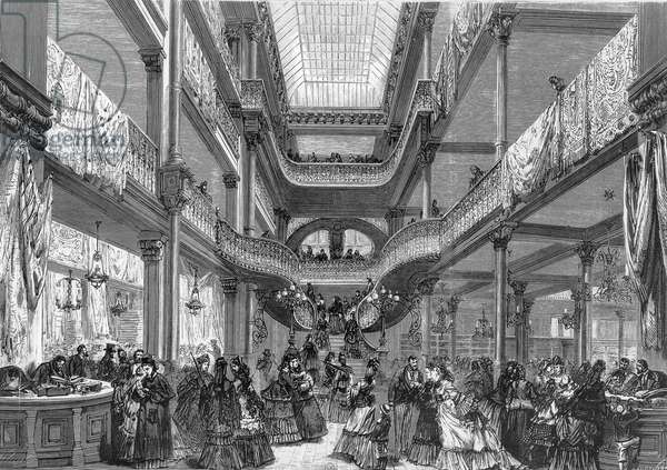 Interior View of famous parisian department store Au Bon Marche, 1875, engraving