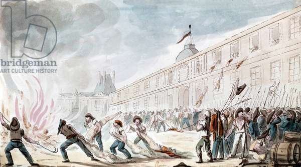 Storming of Tuileries palace (siege of French executive power) august 12, 1792 at the time of French Revolution France, watercolor