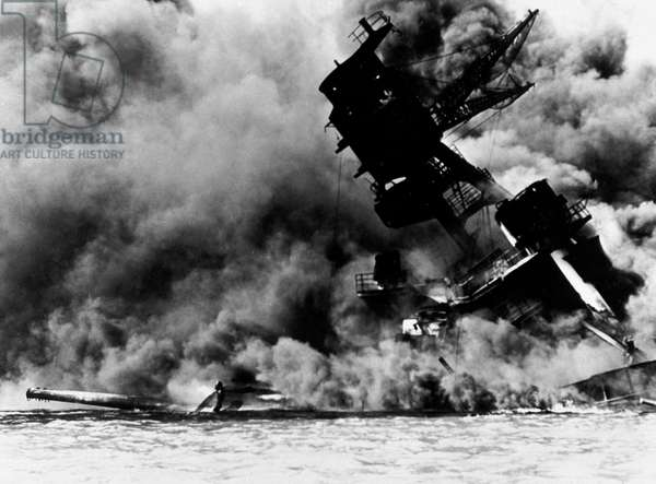 The Attack on Pearl Harbour, 7th December 1941 (b/w photo)