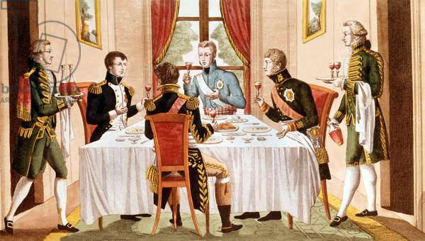 Dinner given by French emperor Napoleon 1st to emperor Alexandre 1st of Russia, king of Prussia Frederic Guillaume III and Grend Duke of Berg in Tilsit (Prussia) in july 1807, engraving, 19th century