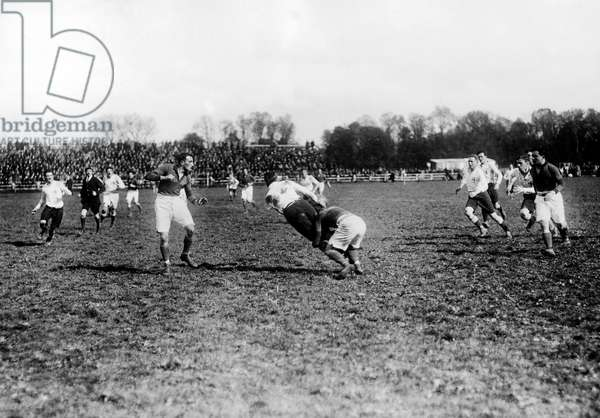 rugby game between Paris team and London team in 1920 in Colombes (France)
