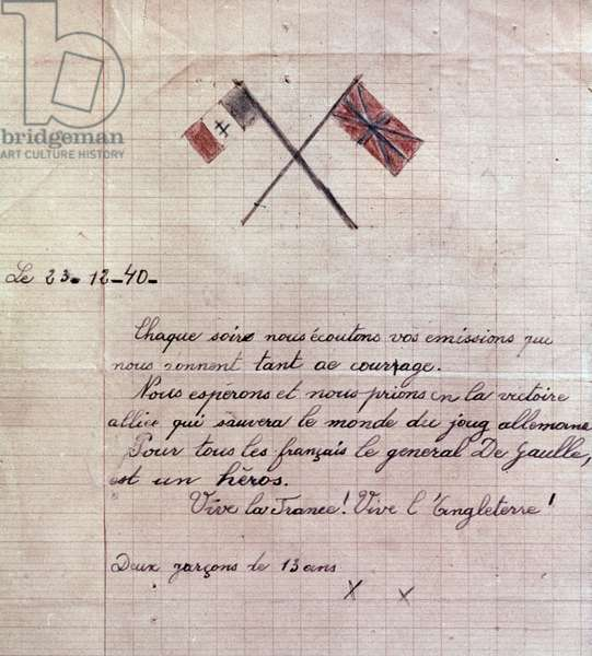 letter written by 2 French boys (13 years old) on december 23, 1940 for BBC to thank BBc for programme
