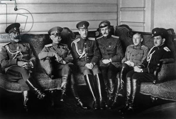 In Moghilev in may 1917, provisional government appoints russian general Anton Ivanovitch Denikine (l) Chief of Staff to Mikhail Alekseev